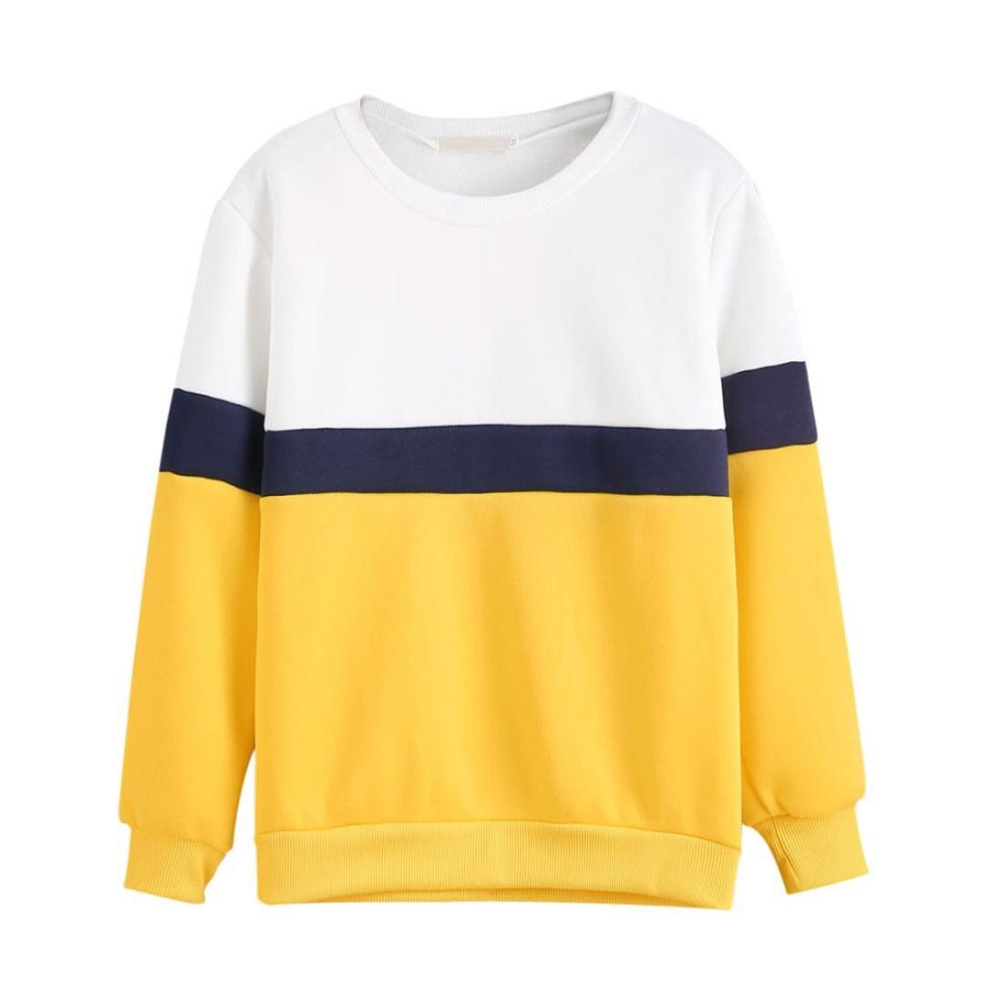 WM&MW Women Pullover Shirt Basic Long Sleeve Crewneck Patchwork Sweatshirt Jumper Blouse Tops (Yellow, L) by WM&MW