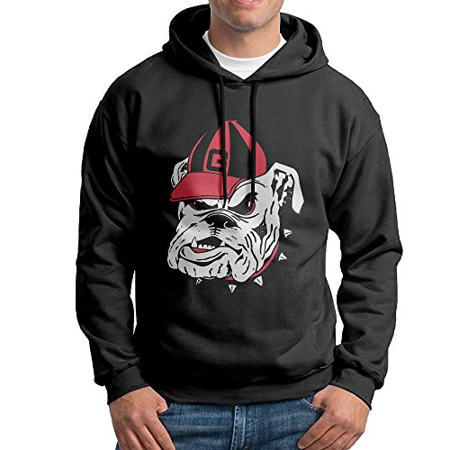 FUOALF Mens Pullover University Of Georgia Bulldogs Hoodie Sweatshirts Black - Tampa Ironman