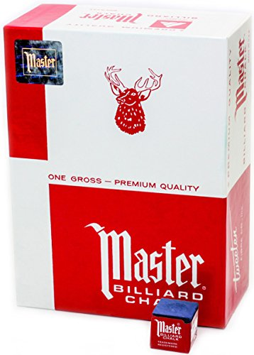 Master Billiard/Pool Cue Chalk, Gross Box, 144 Cubes, Blue