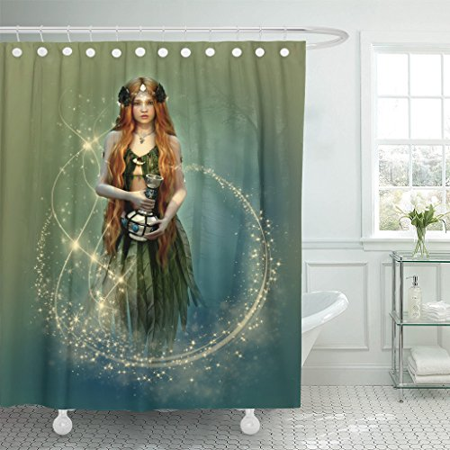 TOMPOP Shower Curtain Red Fantasy 3D Computer Graphics of Forest Fairy with Bottle in Her Hand Silver Woman Elf Waterproof Polyester Fabric 60 x 72 Inches Set with Hooks -