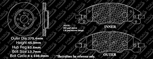 2008-2011 Ford Focus KT063231 Fits Premium Slotted Drilled Rotors + Ceramic Pads Max Brakes Front Performance Brake Kit