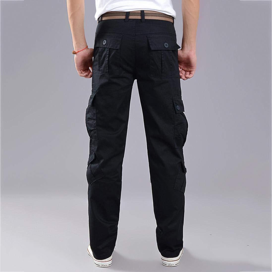 Realdo Clearance Fashion Army Trousers Multi-Pocket Combat Zipper Cargo Waist Work Casual Pants(38,Black) by Realdo (Image #4)