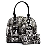 Glossy Magazine Cover Collage 2-in-1 Dome Satchel & Wallet Set Michelle Obama Handbag (Q5-Black/White)