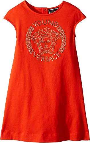 Versace Kids Baby Girl's Cap Sleeve Dress With Medusa Logo (Toddler/Little Kids) Corallo - Girl Versace