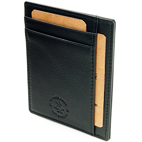 Hammer Anvil RFID Blocking Genuine Leather Front Pocket Wallet Card Case Black