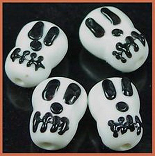 Glamorise Beads 13278 4 Lampwork Handmade Glass Skull Halloween Beads 18mm
