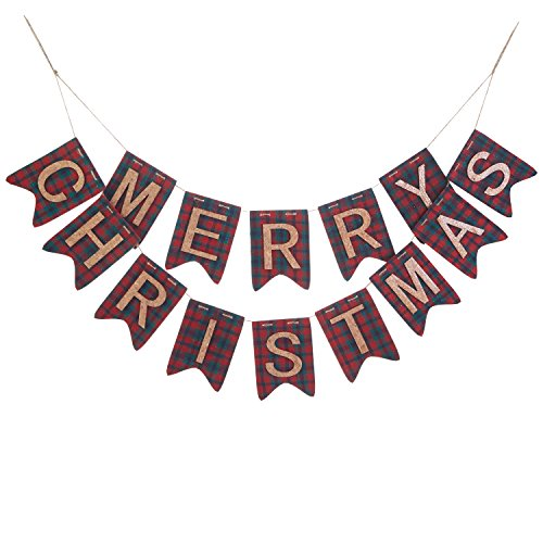 Fabric Merry Christmas (Vintage Rustic Plaid Merry Christmas Fabric and Cork Banner - Red and Green Hanging Holiday Decoration)
