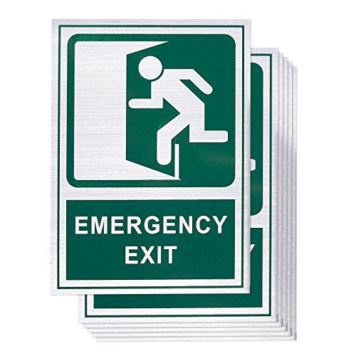 6-Pack Emergency Exit Signs - Self-Adhesive Aluminum Safety Exit Sign Decal, Green, 5.1 x 7.1 Inches Wall Mounted Exit Sign