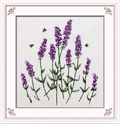 Ribbon Embroidery Kit Handmade Flower Design DIY Wall Decor Lanvender (No Frame)