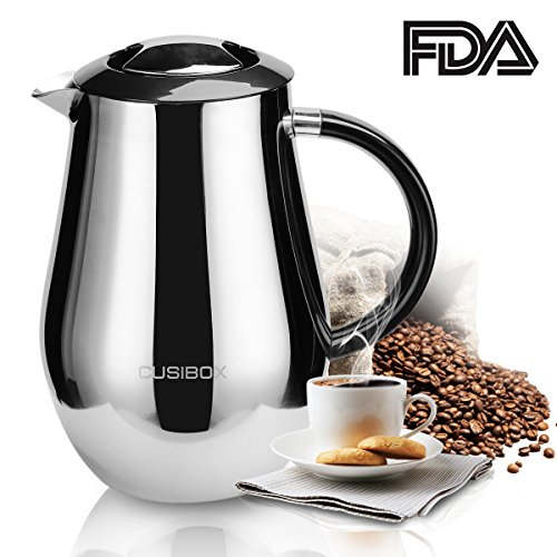 French Press Coffee Maker Large Coffee Press French Insulated Filter Bonus Stainless Steel Screen (1 liter, 34 oz) 1000ml