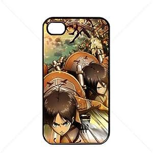 Shingeki no Kyojin Attack on Titan Manga Anime Comic Apple iPhone 4 / 4s TPU Soft Black or White case (Black)