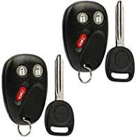 Key Fob Keyless Entry Remote with Ignition Key fits 2003-2006 Chevy Avalanche Equinox Silverado SSR Suburban Tahoe / GMC Sierra Yukon / Hummer H2 / Pontiac Torrent / Saturn Vue (LHJ011), Set of 2