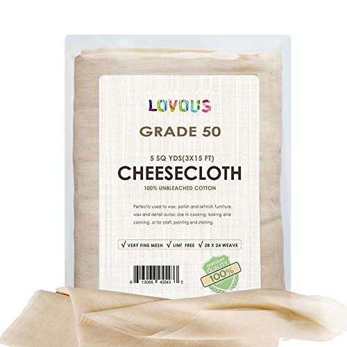 LOVOUS 100% Unbleached Cheesecloth Ultra-Fine Grade 50 Butter Muslin Perfect for Cooking, Nut milk Filter, Cheese Making, Broth (Nut Roasting Spices)