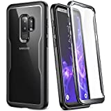 Galaxy S9+ Plus Case, YOUMAKER Crystal Clear with Built-in Screen Protector Full-body Heavy Duty Protection Slim Fit Shockproof Case Cover for Samsung Galaxy S9 Plus (2018) - Clear/Black