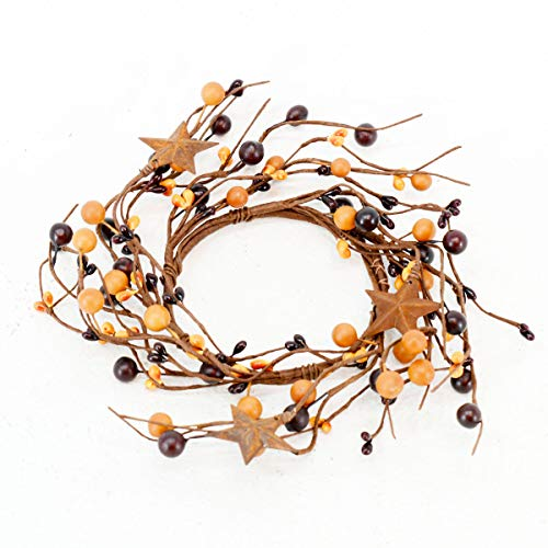 OBI Berry Metal Star Candle Ring Mini Wreath - Country Primitive Small Floral Decor - Mustard Color