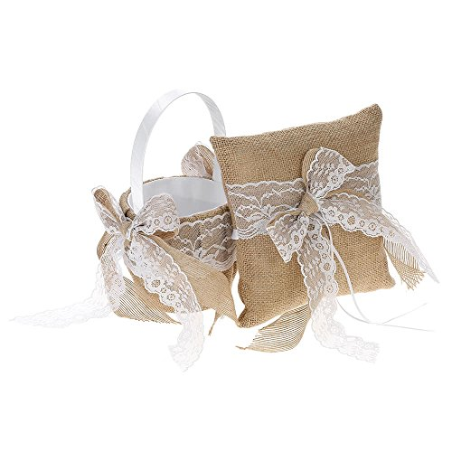 ZHX 7 7 inches Vintage Burlap Lace Bowknot Ring Bearer Pillow and Rustic Wedding Flower Girl Basket Set Multi One Size from ZHX