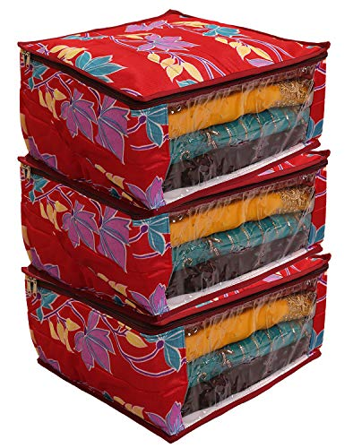 Kuber Industries Fabric Saree Cover  Red  Set of 3 Pcs