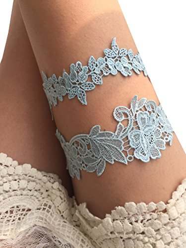 YuRong Flower Leaf Styel Garter Set Wedding Garter Set Bridal Garter G08 (Blue)