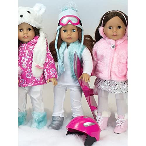 Doll Snowboard Boots Helmet Goggles Set Accessories 18 inch American Girl Dolls