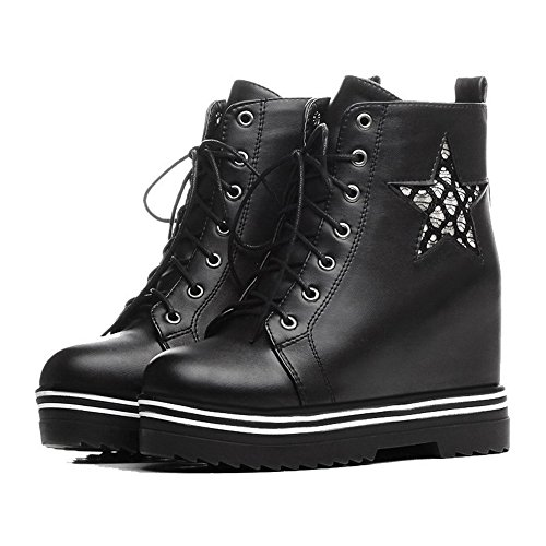 Allhqfashion Women's PU Low-top Assorted Color Lace-up High-Heels Boots Black jJ6qUA4
