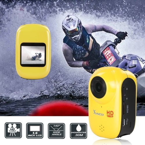 Flylinktech Action Video Camera 12MP HD 1080P Sports Waterproof Camera1.5-inch High Definition Screen with Car Mode+16 GB Card Action Cameras
