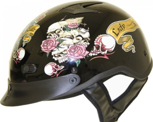 DOT VENTED LADY RIDER BLACK MOTORCYCLE HALF/BEANIE HELMET-L (Shorty Beanie Helmet Dot)