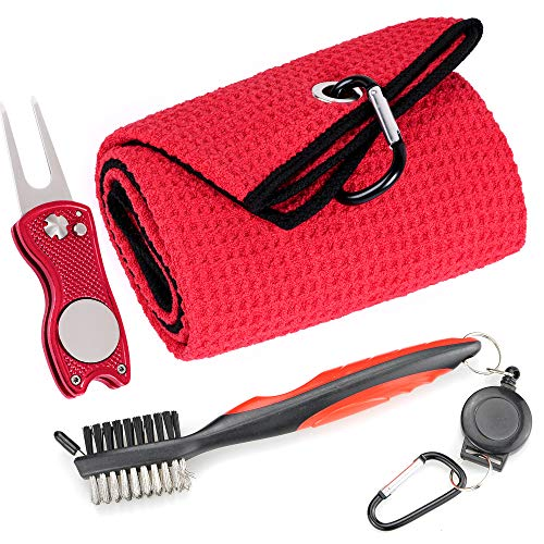 Mile High Life Microfiber Waffle Pattern Golf Towel | Club Groove Cleaner Brush | Foldable Divot Tool with Magnetic Ball Marker (Red Towel/Brush/Fish Divot)