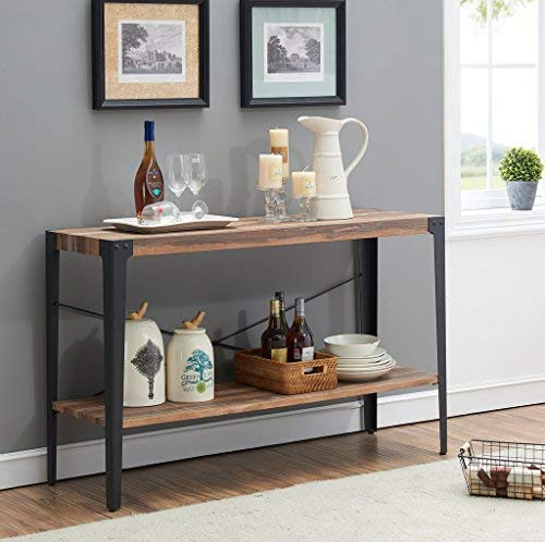Cheap O&K Furniture Industrial Rustic 2-Tier Occasional Console Sofa Table for Living Room & Entryway, Brown Finish(1-Pcs)