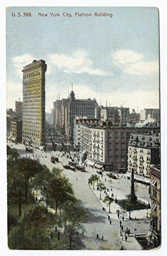 New York City, Flatiron Building, 1907 |Historic Postcards | Vintage Antique Poster Reproduction (Flat Building Postcard Iron)