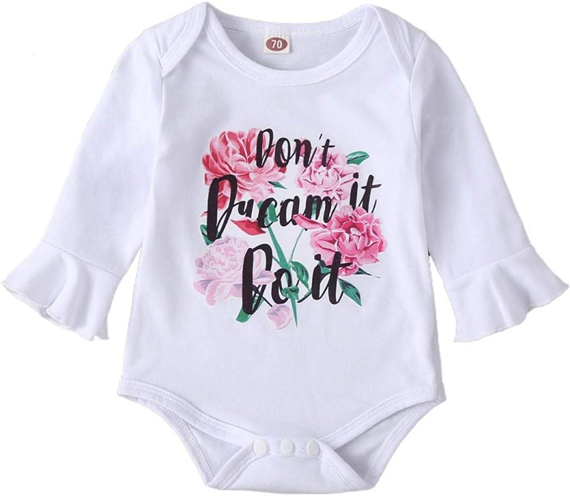Comie - Conjunto de ropa para bebé, unisex, de algodón, de manga larga, con estampado de flores, manga larga, con estampado de botones de presión para niñas y niños Blanco 70 cm: