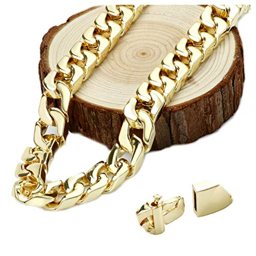 Gold Chain Necklace [ 14mm Thick Miami Cuban Link ] 20X More 24k Plating Than Other Chains for Men - The Look & Feel of Pure Solid Gold - Free Lifetime Replacement 20