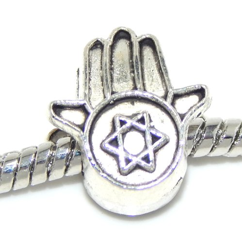 Pro Jewelry Jewish Star Of David Hamsa Hand Bead Compatible with European Snake Chain Bracelets (Pandora Jewish Charm Star)