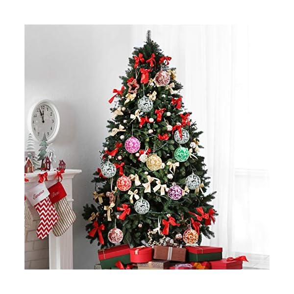 Belle Vous Palline di Natale Trasparenti (Set da 12) - Palle di Natale Plastica da 7,7cm con Vortice Bianco - Palle Natale Plastica Trasparente con Spago per Decorazioni Natale e Addobbi Albero Natale 7 spesavip