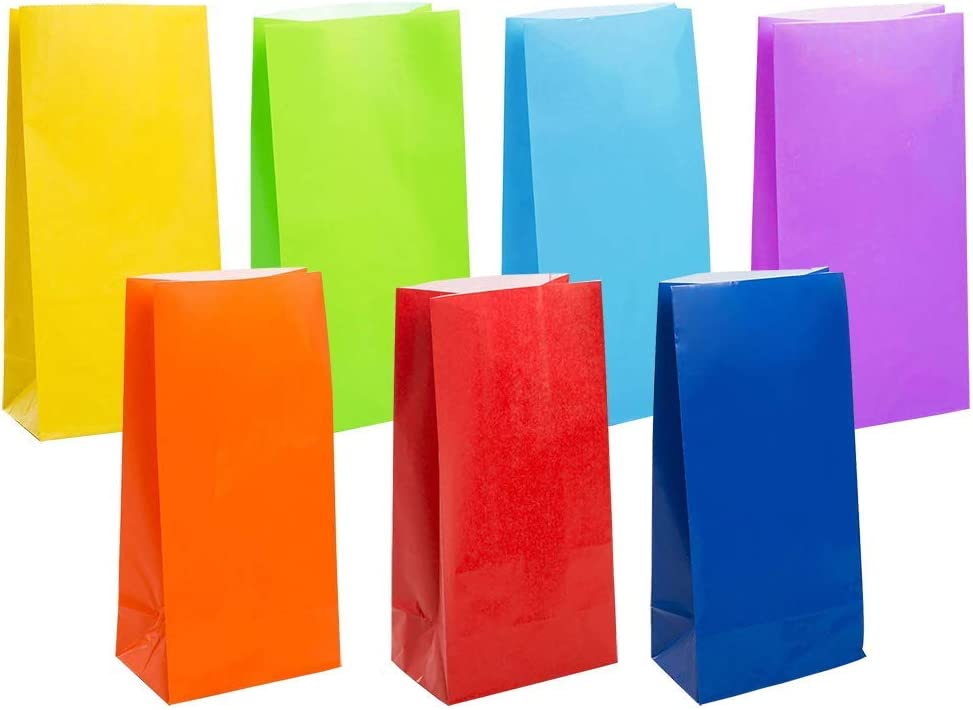 KEYYOOMY Small Bright Color Paper Bags Rainbow Party Goody Bag for Party Favor (100 CT, 3.5 X 2.4 X 7.1 in)