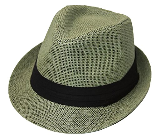 (The Hatter Co. Tweed Classic Cuban Style Fedora Fashion Cap Hat, Olive)