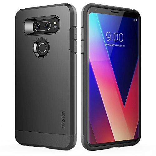 SPARIN LG V30 / LG V30 Plus Case/LG V30S Case, Dual Layer Black Tough Phone Case for LG V30 with Shock Absorbing/Scratch Proof/Precise Designed, 6 Inch, Black