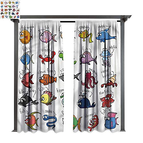 (cobeDecor Thermal Insulated Drapes Kids Aquarium Cartoon Octopus Fish for Lawn & Garden, Water & Wind Proof W108 xL72)