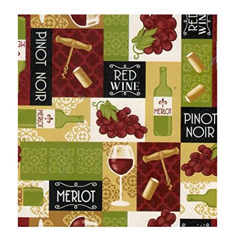 Wine Themed PEVA Vinyl Tablecloth Flannel Backed (60 x 10...