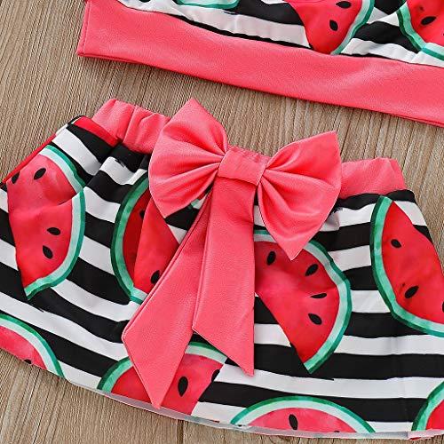 abc1a9611 Amazon.com: Baby Girl 3-Piece Swimsuit, Watermelon Bikini Set Flounce Top +  Mini Dress+Headband Swimwear Bathing Suit: Clothing