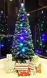 8 FT PRE-LIT MULTI COLOR LED LIGHTS & FIBER OPTIC CHRISTMAS TREE WITH STAR TOPPER