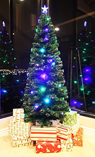 8 FT PRE-LIT MULTI COLOR LED LIGHTS & FIBER OPTIC CHRISTMAS TREE WITH STAR TOPPER by XmasBuddy