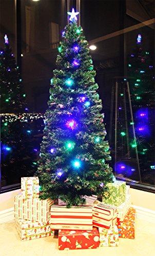 8 FT PRE-LIT MULTI COLOR LED LIGHTS & FIBER OPTIC CHRISTMAS TREE WITH STAR TOPPER 4.5' Christmas Ornament