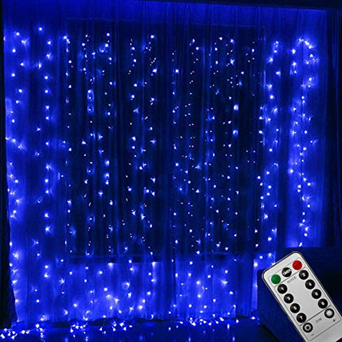 Bjour 300 LED Curtain Lights with Remote Window String Icicle Light Outdoor Indoor Wall Decoration for Bedroom Weddings Parties, Blue