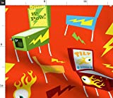 Spoonflower Retro Pinball Fabric - Vintage Arcade Game Pinball Video Game Arcade Kids Retro Game by Sparkyfirepants Printed on Eco Canvas Fabric by The Yard