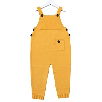 32456bfdef3 Amazon.com   Autumn Unisex Baby Pocket Knitted Rompers Overalls Jumpsuits  Boys Girls Candy Color Harem Pants Kids Clothes - Yellow 18-24 months   Baby