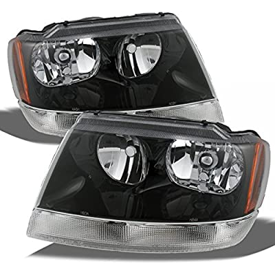 Jeep Grand Cherokee OE Replacement Black Bezel Headlights Driver/Passenger Head Lamps Pair New