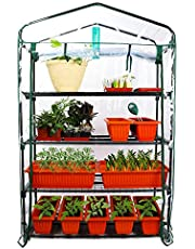 Homes Garden Upgrade Wider 4 Tier Greenhouse, Serre à Jardin, 39 in. W x 19 in. D x 63 in. H Portable Indoor Outdoor Mini Greenhouse Clear PVC Cover Zipper Roll Up #G310A00
