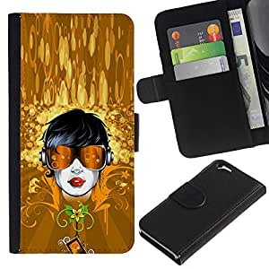 Billetera de Cuero Caso Titular de la tarjeta Carcasa Funda para Apple Iphone 6 4.7 / Gold Dude Sunglasses Summer Floral / STRONG