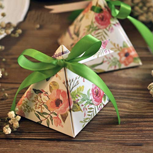 MEIZOKEN 100pcs/Lot Candy Favor Theat Boxes Floral Flower Printed Gift Box Triangular Pyramid Wedding Favors Candy Boxes Party Favors Box Giveaways Box