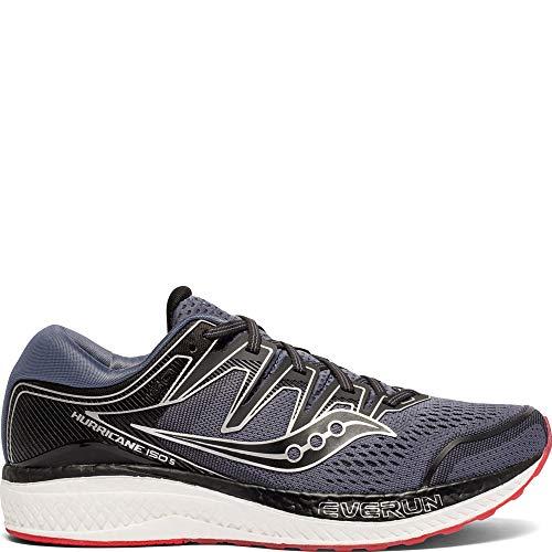 Saucony Men's Hurricane ISO 5 Running Shoe, Grey/Black, 10 M US